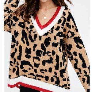Sweaters - Cozy Leopard V-neck Sweater